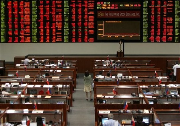 Philippine Stock Exchange (PSE) trading floor during a lull