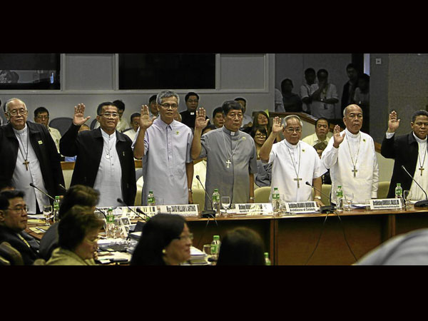 Bishops in Senate hearing (from Philippine Inquirer