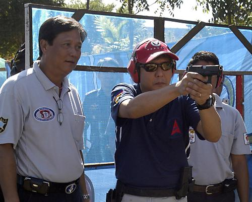 Senator Bongbong Marcos at the firing range