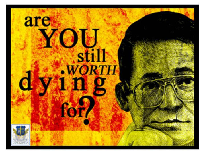 "reaction paper about the filipino is worth dying for Free essay: ""the filipino is worth dying for"" this simple yet powerful statement,  attributed to benigno ""ninoy"" s aquino, jr, is one of the most."