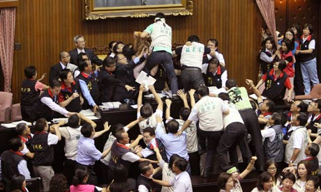 Brawling Taiwanese legislators