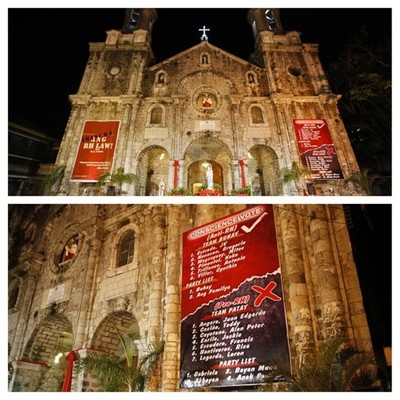 Tarps on the Bacolod cathedral