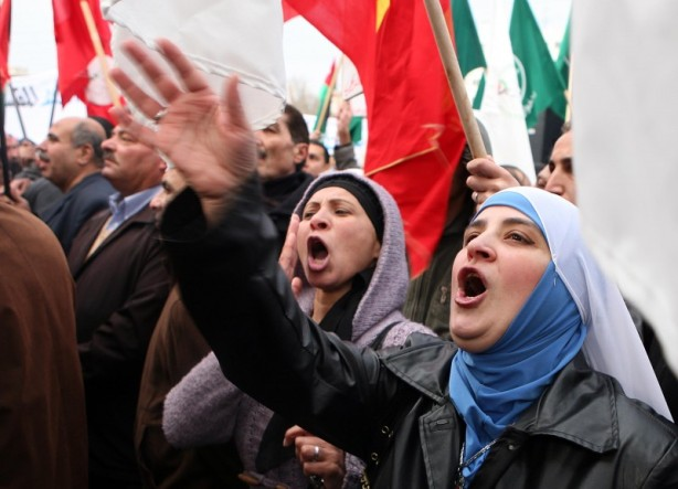 Egyptian women calling for the ouster of Hosni Mubarak in Tahrir square, Cairo, February 2011
