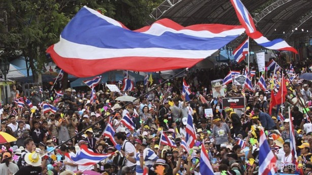 Protests in Bangkok against government of Prime Minister Yingluck Shinawatra