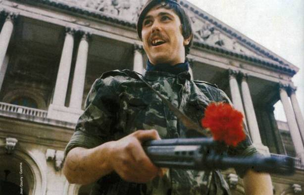 Rebel soldier fighting against the Caetano Salazar dictatorship during the 1975 Carnation Revolution in Portugal