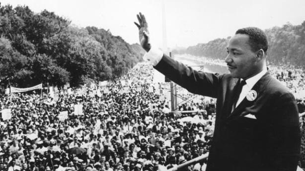 "Martin Luther King delivering his ""I have a dream"" speech during the 1963 march on Washington, DC"
