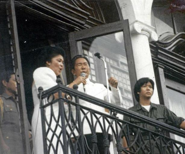 Ferdinand Marcos, Imelda Marcos, and BongBong Marcos (now Senator) at the presidential balcony, morning of February 25, 1986