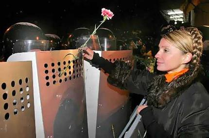 Tymoshenko working the barricades