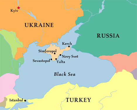 Crimea (the peninsula in the Black Sea), Russia, and Ukraine