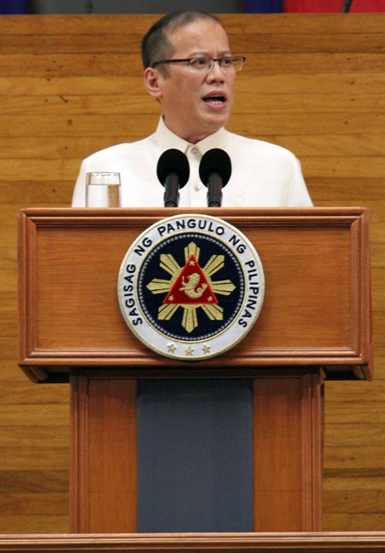 President Benigno Aquino III delivering his SONA before the joint session of Congress