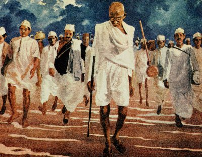 Gandhi leading the Salt March in defiance of British law