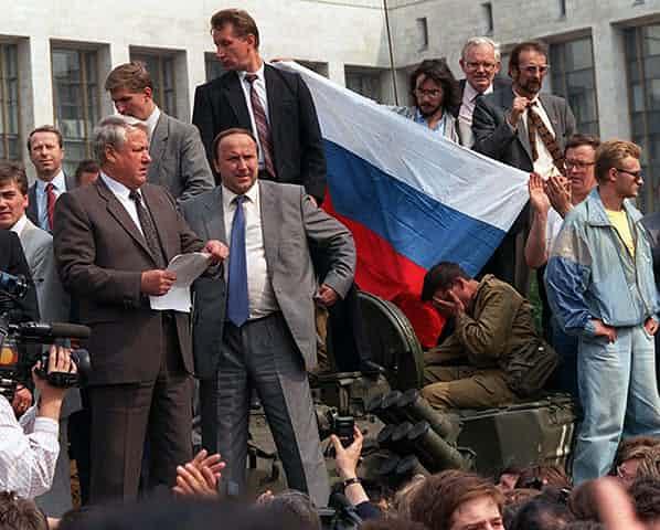 Yeltsin atop a tank